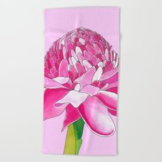 Flower#11 - Red Ginger Lily Beach Towel