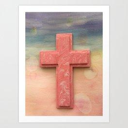 Pink Cross Watercolor Art Print