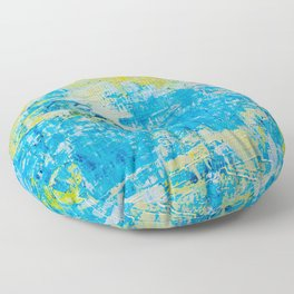 Abstract Acrylic Painting Bright Day Floor Pillow