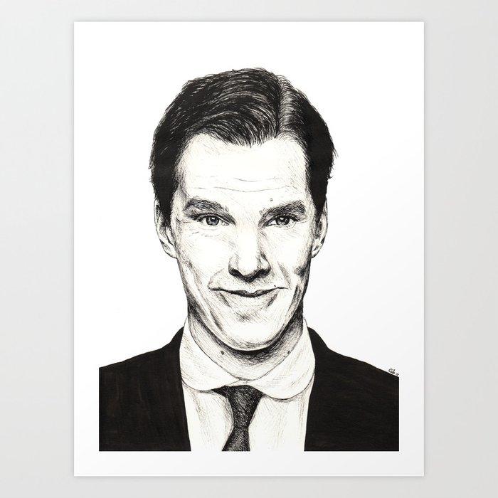 Benedict Cumberbatch (Ink portrait) Art Print