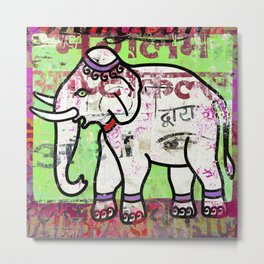 Indian elephant, green and pink exotic animal Metal Print
