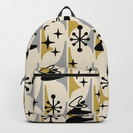 Mid Century Modern Cosmic Boomerang 726 Black Gold and Gray Backpack
