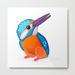 Kingfisher bird. Vector graphic character Metal Print