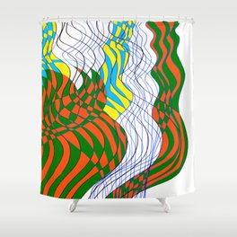 Waves Lines Black and Blue Lines - Colored Shower Curtain