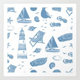 sea pattern modern art Art Print