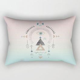 Magic Tribal Ornament Soft Pastels And Gold Rectangular Pillow