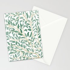 Green Leaf Pattern Stationery Cards