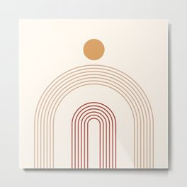 Geometric Lines in Terracotta and Beige 14 (Rainbow and Sun Abstract) Metal Print