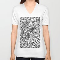 paris map V-neck T-shirts featuring Paris by Mondrian Maps