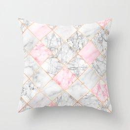 Rose Gold Marble Diamonds Throw Pillow