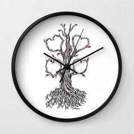 Gnarly Oak Tree Heart Tattoo Wall Clock