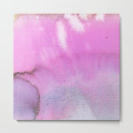Modern neon pink lilac white abstract watercolor paint Metal Print