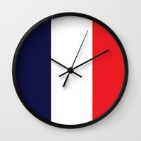 france Wall Clocks featuring France by shannon's art space