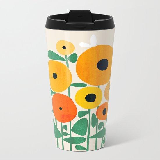 Sunflower and Bee Metal Travel Mug