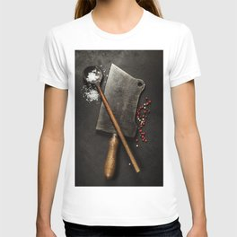 old wooden spoon and Meat cleaver knife on dark background T-shirt