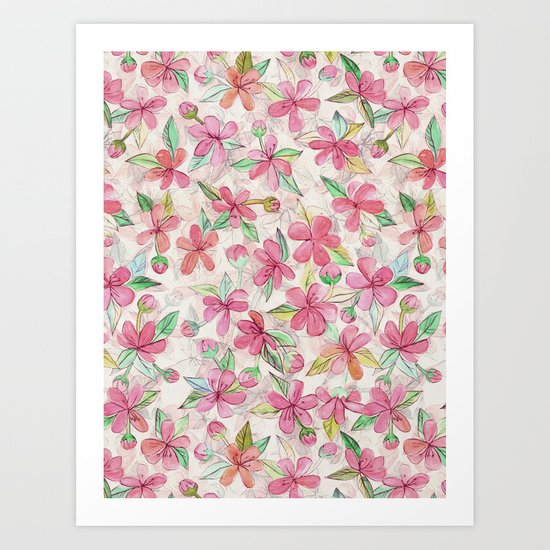 Pink Painted Blossom Pattern Art Print