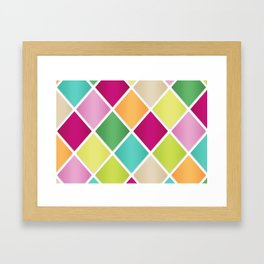 Modern Diamond Geometric Pattern Design // Pink Orange Green Blue Framed Art Print