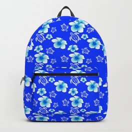 Blue Floral And Turtles Hawaiian Pattern Backpack