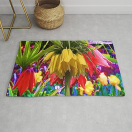 FANTASY ART YELLOW CROWN IMPERIAL FLOWERS Rug