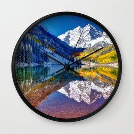 Fall Season at Maroon Bells Panorama Wall Clock