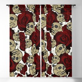 Red Roses & Skulls Black Floral Gothic White Blackout Curtain