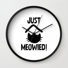 Just Married Cat Pun Wall Clock