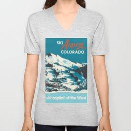 Vintage Ski Aspen Poster Unisex V-Neck