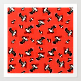 Black Pumps Pattern On Red Art Print