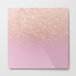 Rose gold glitter ombre on sweet lilac Metal Print