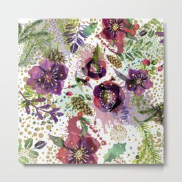 Abstract plants and flowers Metal Print