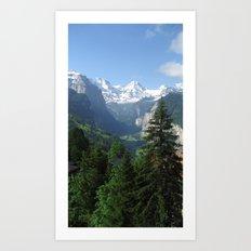 Lauterbrunnen Valley below and Breithorn above Art Print