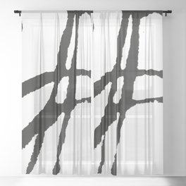 0523: a simple, bold, abstract piece in black and white by Alyssa Hamilton Art Sheer Curtain