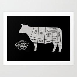 Cow Butcher Chart Art Print
