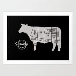 Cow Butcher Chart Art Print