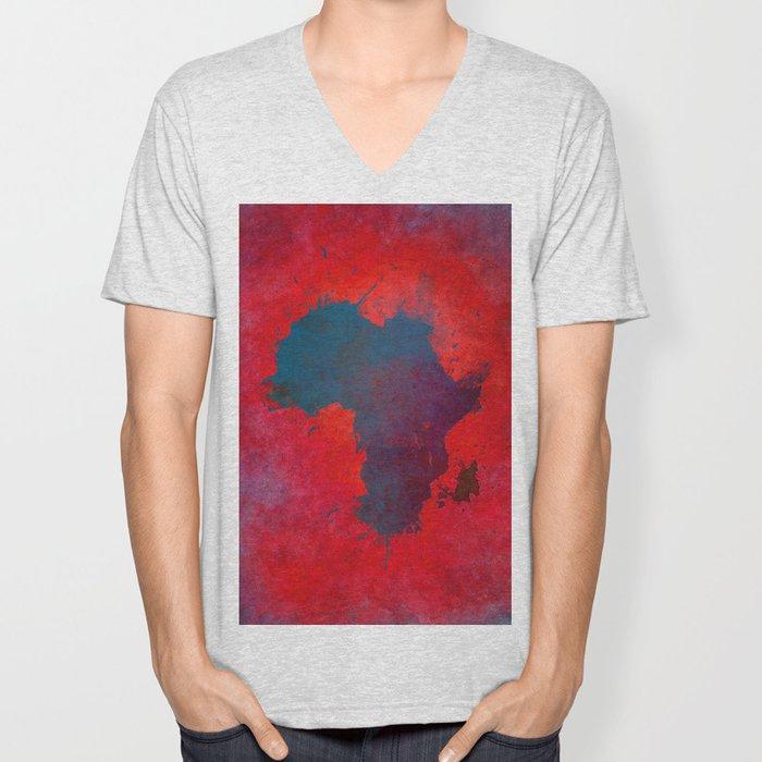 Africa map 3D red blue #africa #map Unisex V-Neck