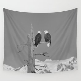 Perched With A View Duo - B & W Wall Tapestry