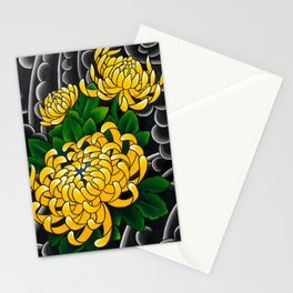 Japanese tattoo style sumi ink wash and watercolor chrysanthemum   Stationery Cards