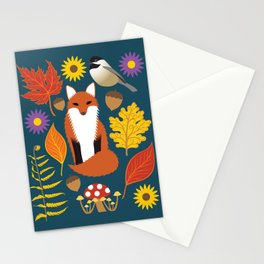Autumn Leaves and Fox Stationery Cards