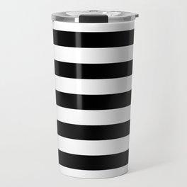 Black and White Medium Stripes Pattern Travel Mug