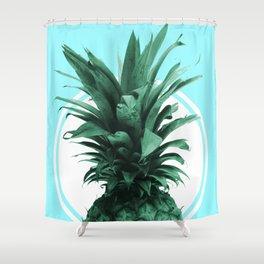 Pineapple Print - Tropical Wall Art - Botanical Print - Pineapple Poster - Blue - Minimal, Modern Shower Curtain