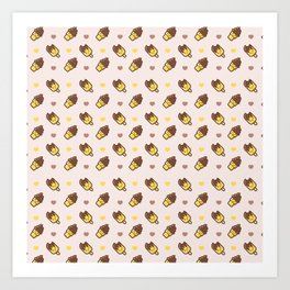 Cute modern yellow chocolate funny ice cream heart pattern Art Print