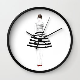 Fashion illustration stripes dress in black and white Wall Clock