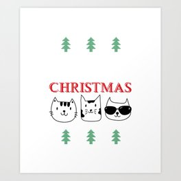 Purry Christmas Cats Christmas Eve Xmas Holiday Celebration Art Print
