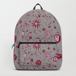 Pink and grey floral with wild roses Backpack