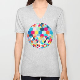 Super Bright Color Fun Hexagon Pattern Unisex V-Neck