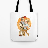 uncharted Tote Bags featuring Uncharted 3 HUG by Super Group Hugs