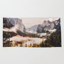 Amazing Yosemite California Forest Waterfall Canyon Beach Towel