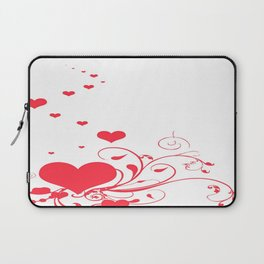 Red Valentine Hearts on A White Background Laptop Sleeve