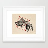 fish Framed Art Prints featuring Fish In Geometrics III by Florent Bodart / Speakerine