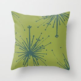 Chartreuse and Teal Floral Throw Pillow